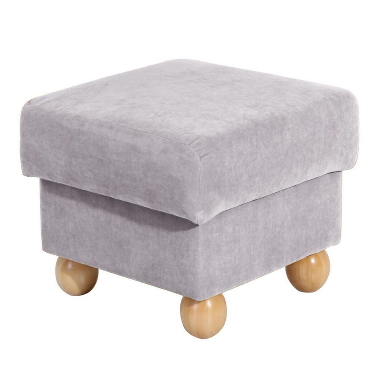 ohrenbackensessel mit hocker monarch velourstoff silber. Black Bedroom Furniture Sets. Home Design Ideas