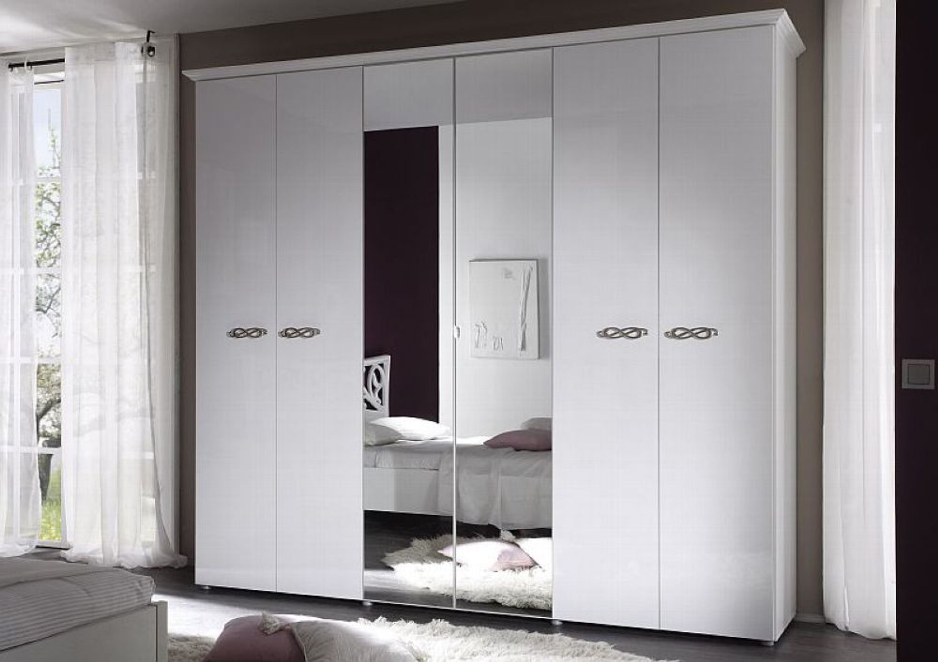 kleiderschrank sonja 6 t rig weiss hochglanz kaufen bei. Black Bedroom Furniture Sets. Home Design Ideas
