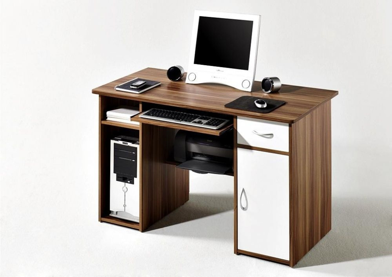 pc tisch schreibtisch mike in walnuss wei kaufen bei. Black Bedroom Furniture Sets. Home Design Ideas