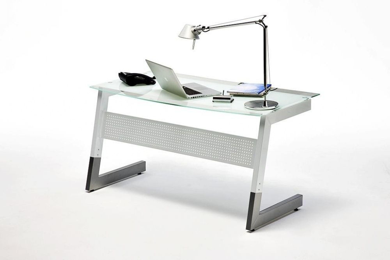 glas schreibtisch erol weiss silber kaufen bei. Black Bedroom Furniture Sets. Home Design Ideas