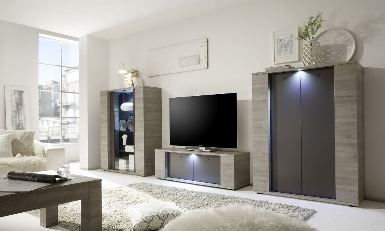 wohnwand lieke 3 teilig in eiche grau anthrazit kaufen bei. Black Bedroom Furniture Sets. Home Design Ideas