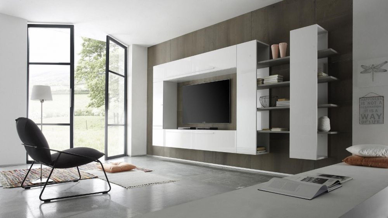 wohnwand enea 4 teilig kombi 3 in wei lack kaufen bei. Black Bedroom Furniture Sets. Home Design Ideas