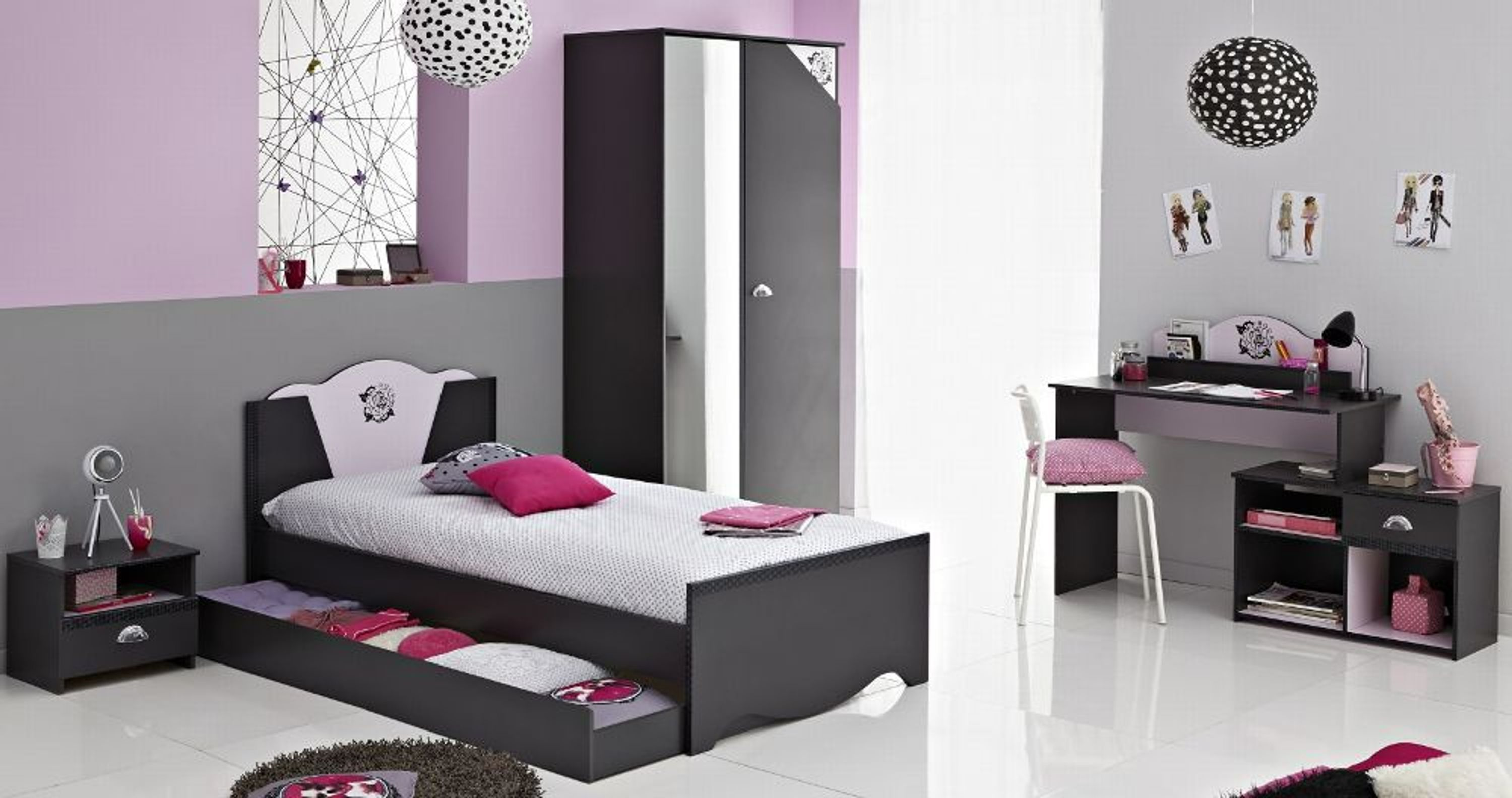 kinderzimmer set laika grau rosa 5 teilig kaufen bei. Black Bedroom Furniture Sets. Home Design Ideas
