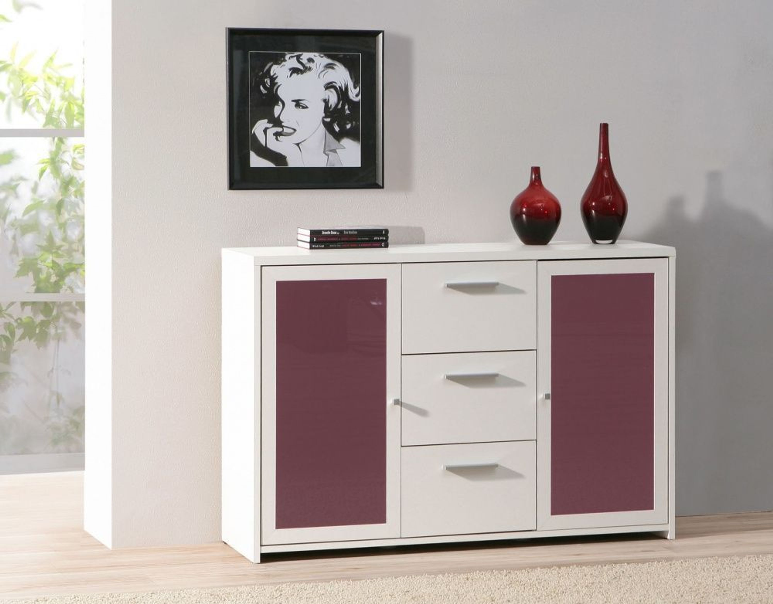 kommode mit t ren lorenzo in weiss lila kaufen bei. Black Bedroom Furniture Sets. Home Design Ideas