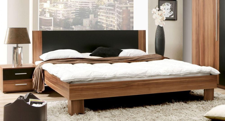 schlafzimmerbett vittoria in walnuss matt schwarz uni matt kaufen bei. Black Bedroom Furniture Sets. Home Design Ideas