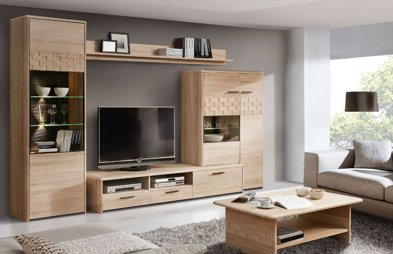 wohnwand claudia 4 tlg in sonoma eiche kaufen bei. Black Bedroom Furniture Sets. Home Design Ideas