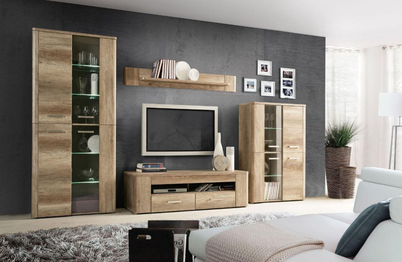 wohnwand ciara 4 teilig eiche antik cacao supermatt kaufen bei. Black Bedroom Furniture Sets. Home Design Ideas