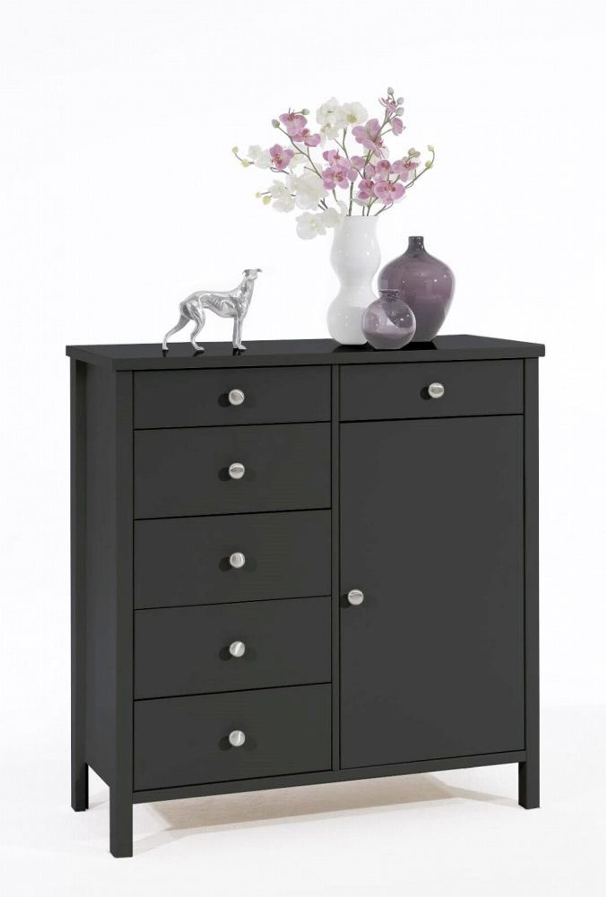 kommode aletta 1 t rig schwarz braun mdf kaufen bei. Black Bedroom Furniture Sets. Home Design Ideas