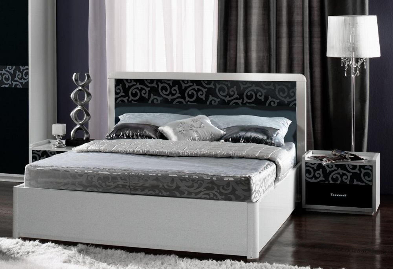 schlafzimmer frederike 4 tlg weiss schwarz glanz kaufen. Black Bedroom Furniture Sets. Home Design Ideas