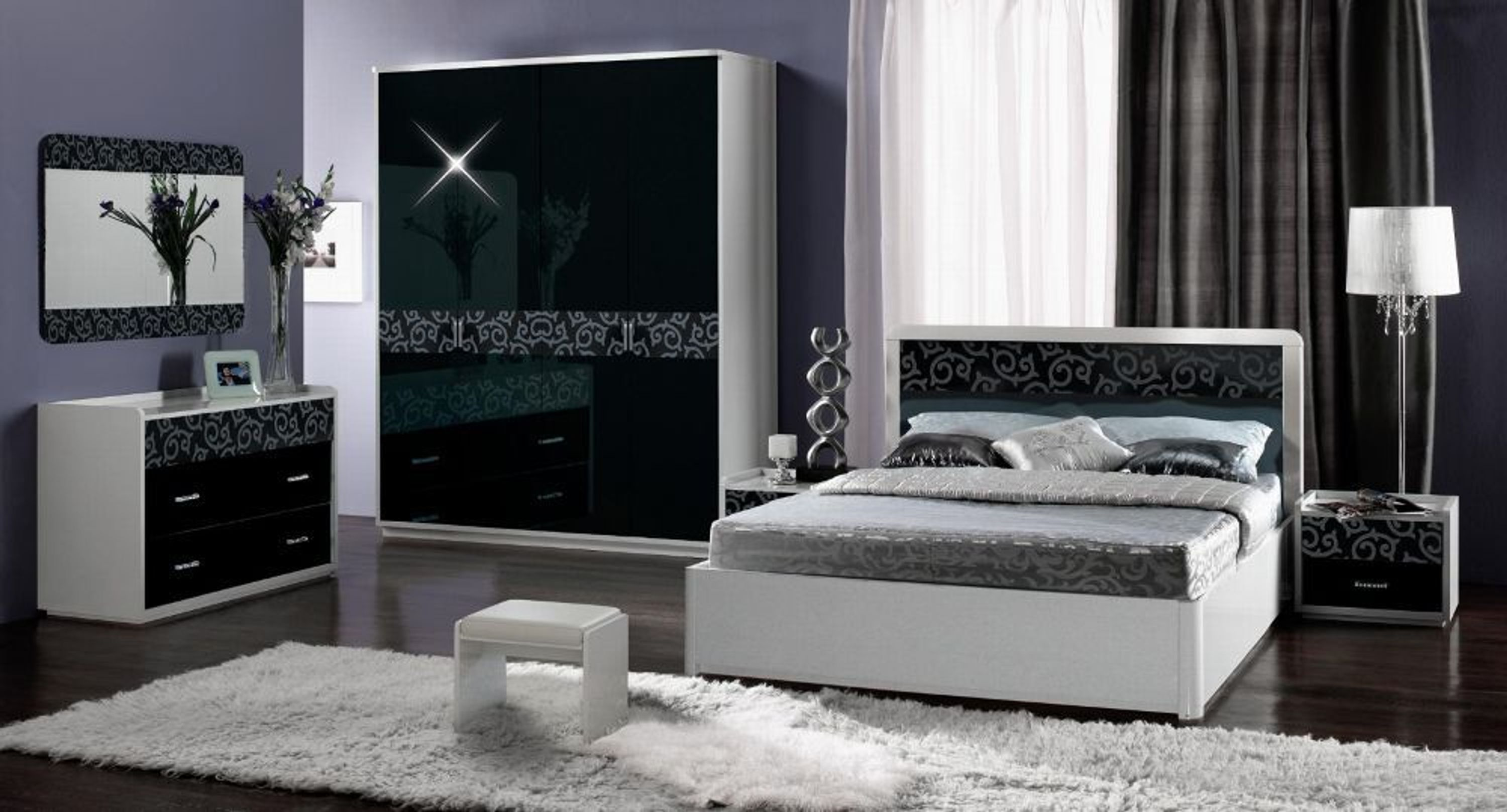 schlafzimmer frederike 4 tlg weiss schwarz glanz kaufen. Black Bedroom Furniture Sets. Home Design Ideas