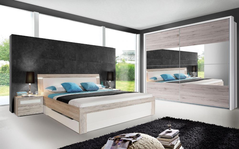 schlafzimmer set strada 4 teilig wei sandeiche kaufen bei. Black Bedroom Furniture Sets. Home Design Ideas