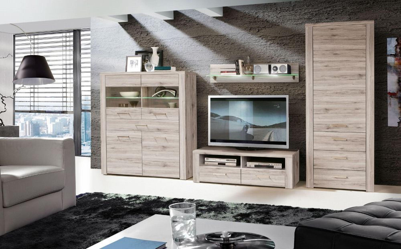 Wohnwand julietta 4 teilig in sandeiche kaufen bei for Wohnzimmer kompletteinrichtung