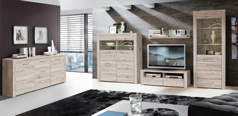 wohnwand julietta 4 teilig in sandeiche kaufen bei. Black Bedroom Furniture Sets. Home Design Ideas