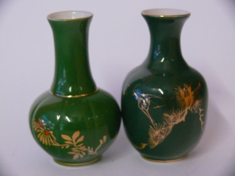 2 st ck seltene porzellan vase gr ne farbe mit goldrand. Black Bedroom Furniture Sets. Home Design Ideas