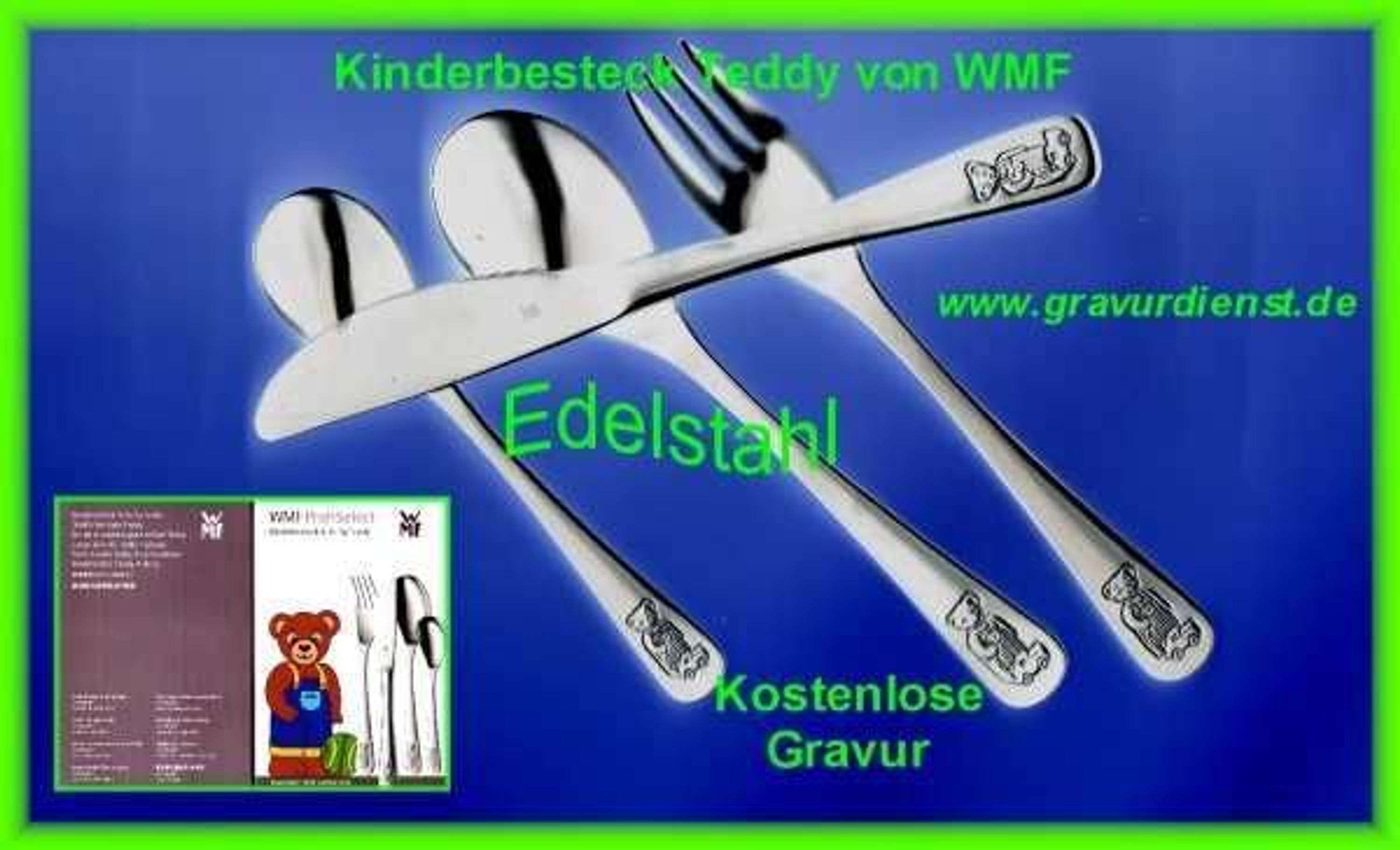 wmf kinderbesteck gravur 4 teilig incl gravur teddy kaufen bei. Black Bedroom Furniture Sets. Home Design Ideas