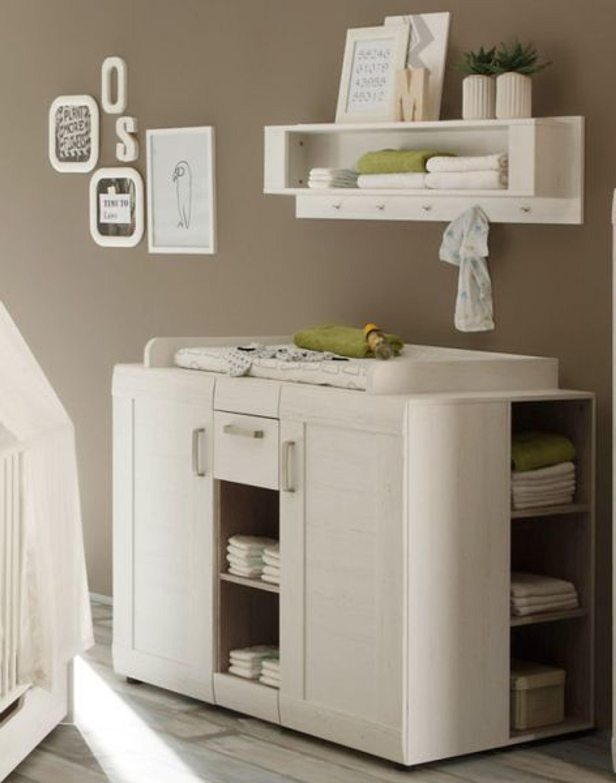 babyzimmer wickelkommode wickeltisch landi anderson pinie wei mit regal und gardero kaufen bei. Black Bedroom Furniture Sets. Home Design Ideas