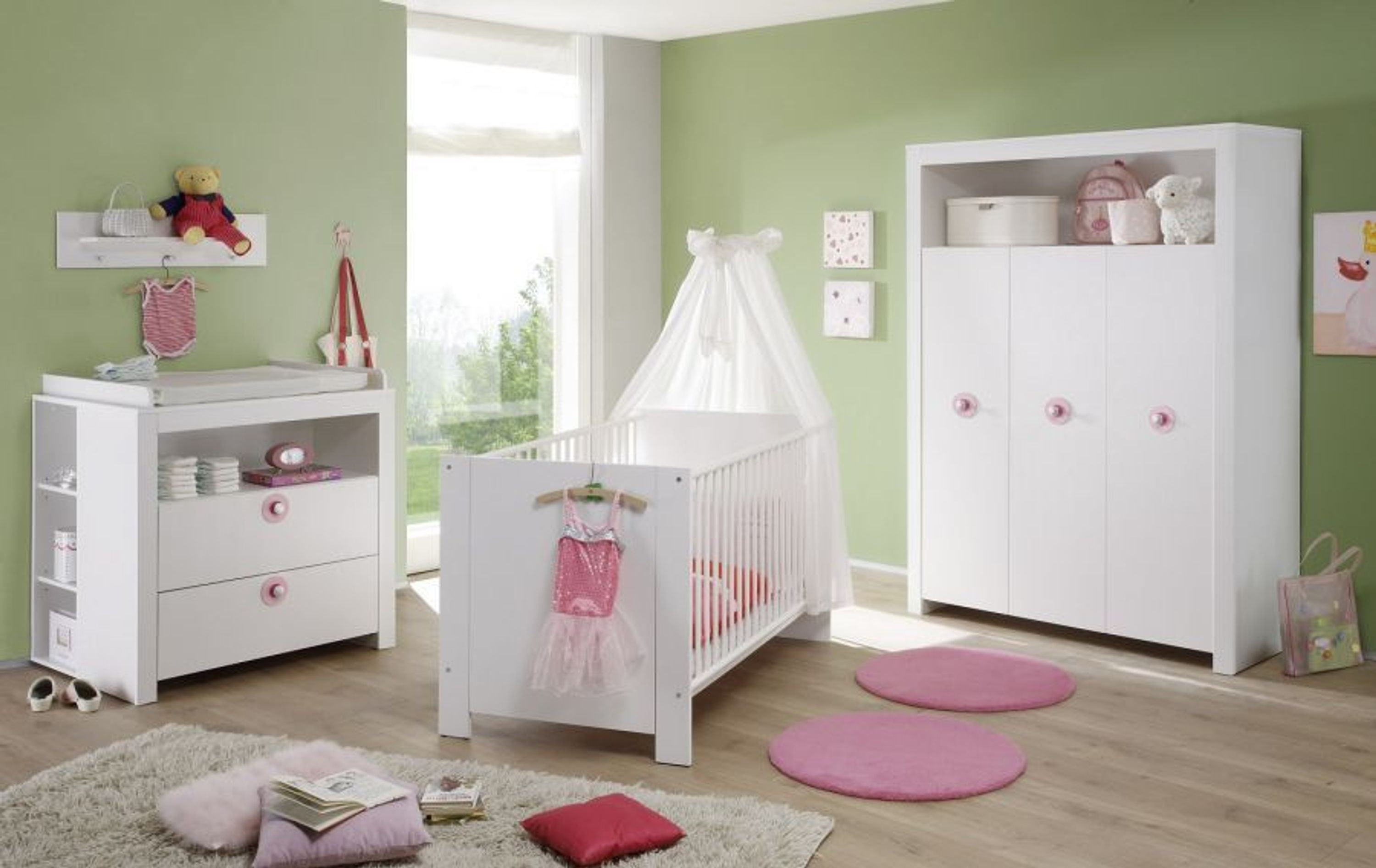 babyzimmer kinderzimmer wei komplett set neu olivia 3 teilig baby m bel blau rosa kaufen bei. Black Bedroom Furniture Sets. Home Design Ideas