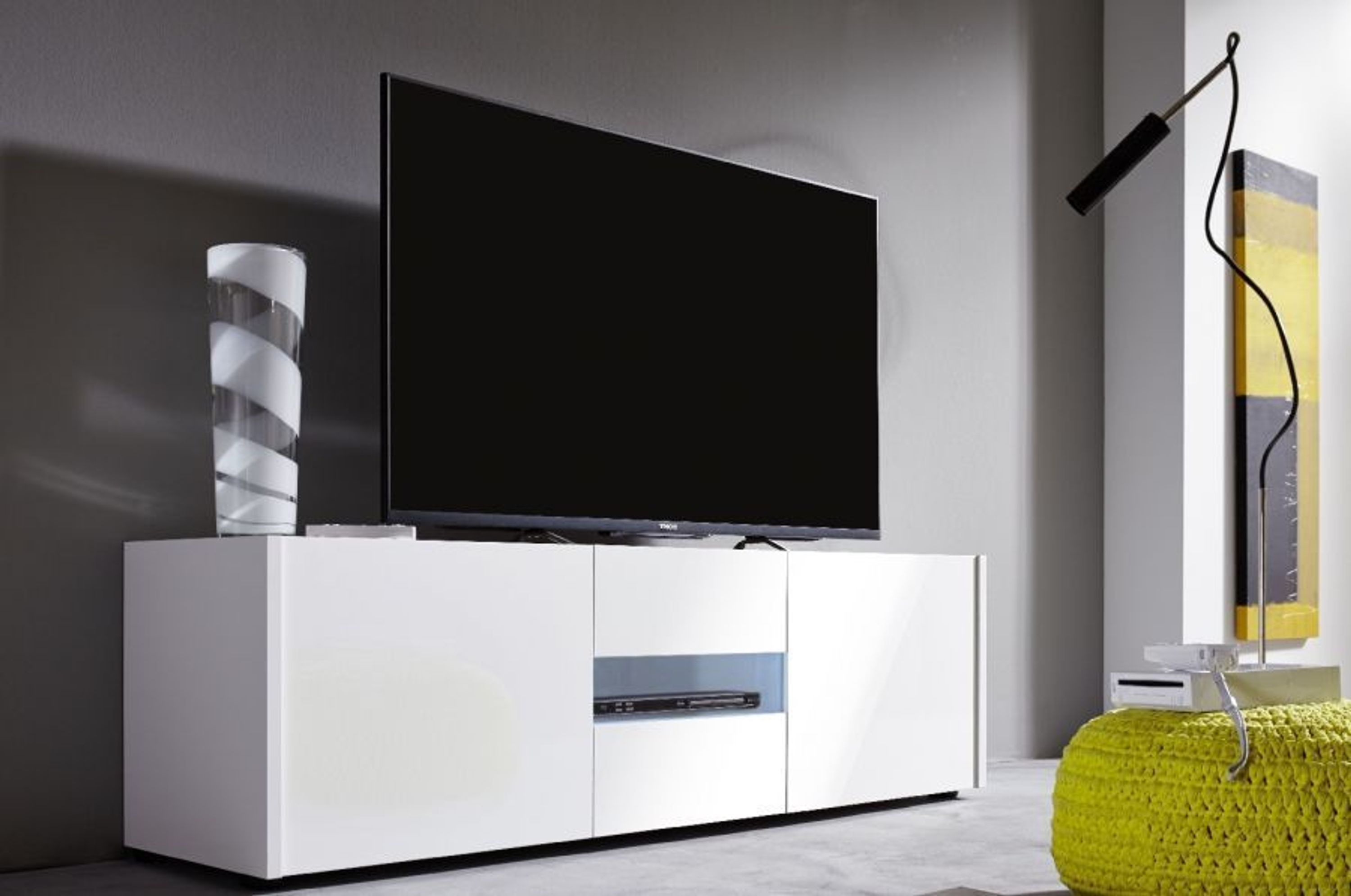 lowboard tv unterteil imola wei echt hochglanz lackiert. Black Bedroom Furniture Sets. Home Design Ideas