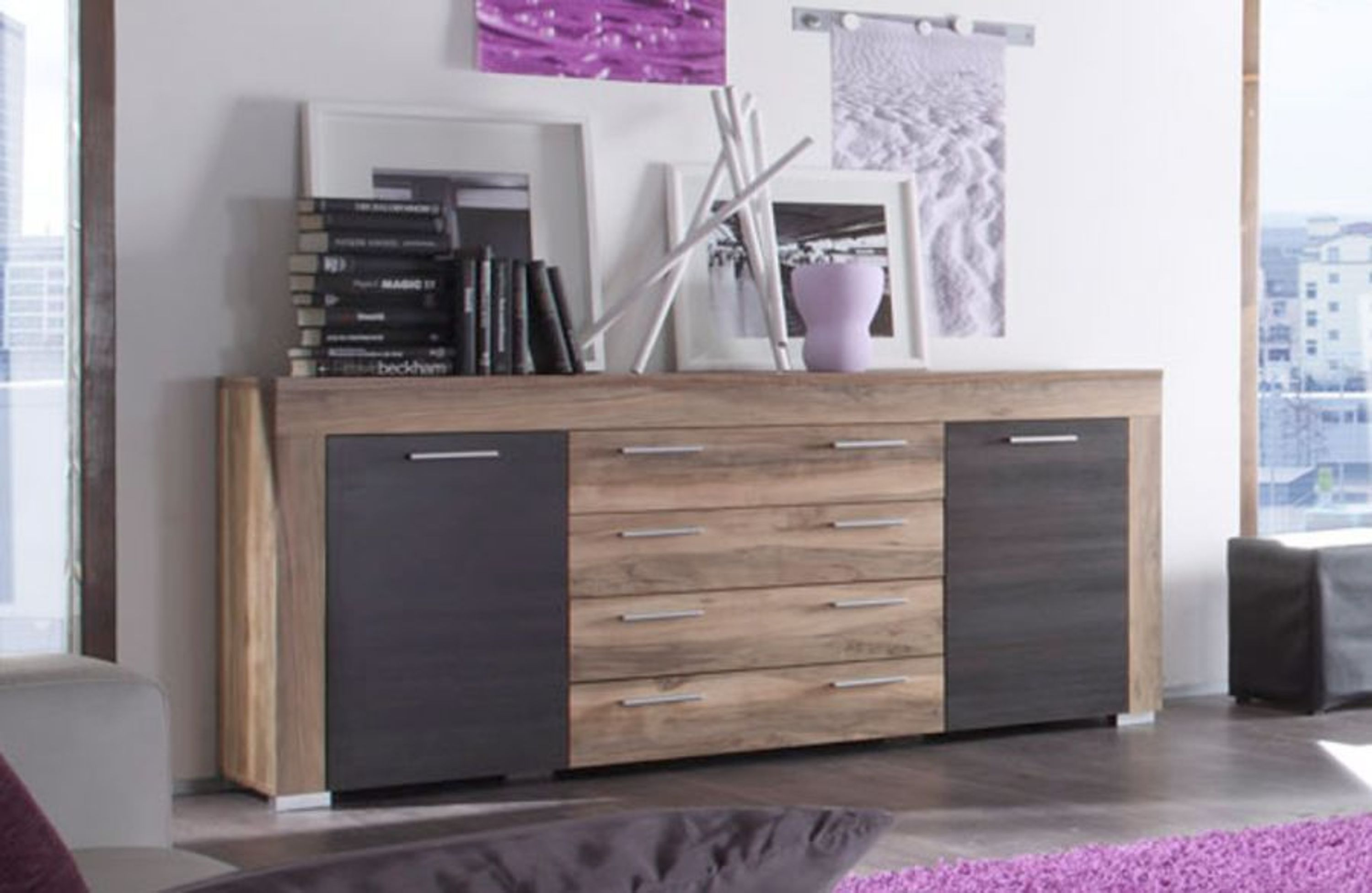 sideboard anrichte boom nussbaum satin mit touchwood dunkelbraun kaufen bei. Black Bedroom Furniture Sets. Home Design Ideas