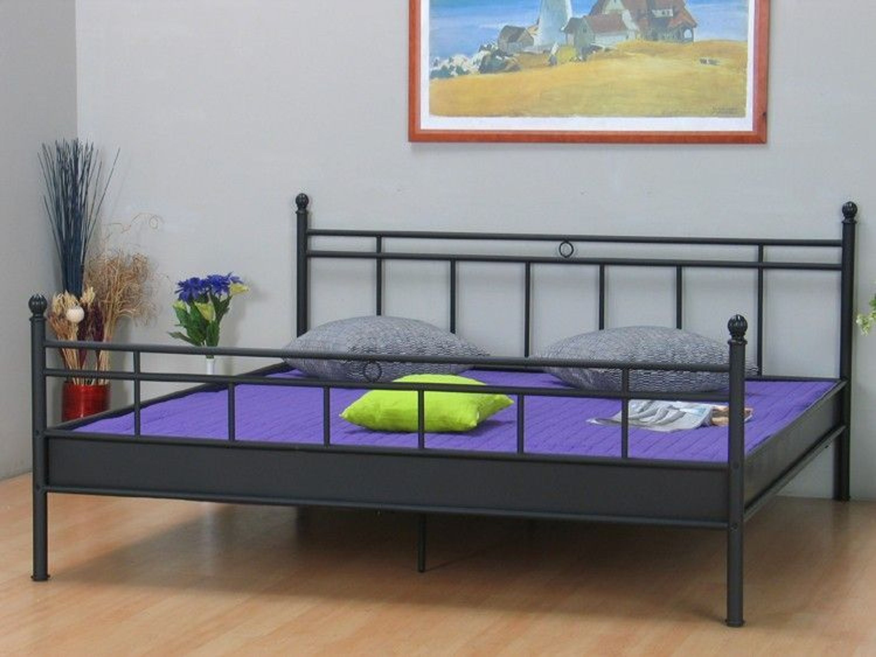 metallbett bett 140x200 schwarz doppelbett ehebett neu kaufen bei. Black Bedroom Furniture Sets. Home Design Ideas