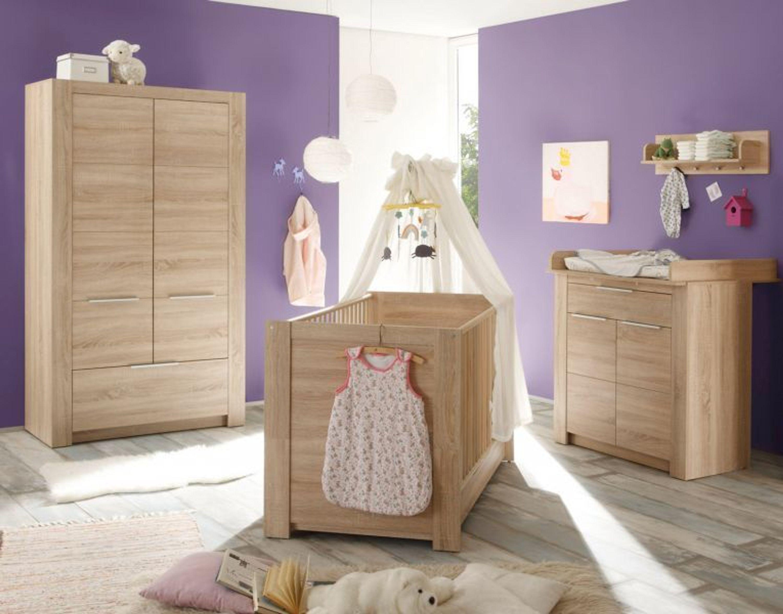 babyzimmer carlotta eiche s gerau komplett set 5 teilig wickelkommode babybett kaufen bei. Black Bedroom Furniture Sets. Home Design Ideas