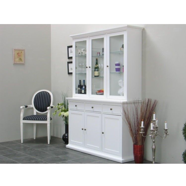 vitrinenschrank paris glasvitrine vitrine aufsatzbuffet buffet landhaus wei kaufen bei. Black Bedroom Furniture Sets. Home Design Ideas