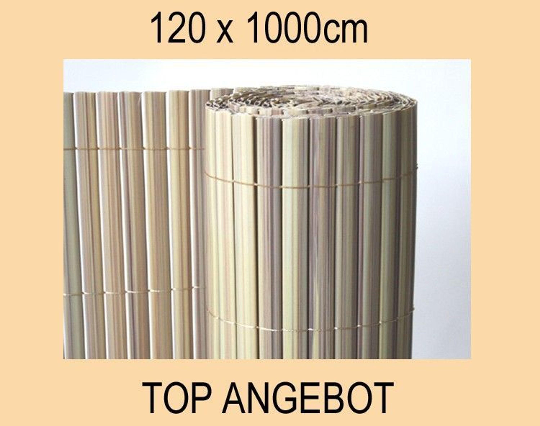 pvc sichtschutzmatte balkon sichtschutz 120x1000cm windschutz bambus kaufen bei. Black Bedroom Furniture Sets. Home Design Ideas