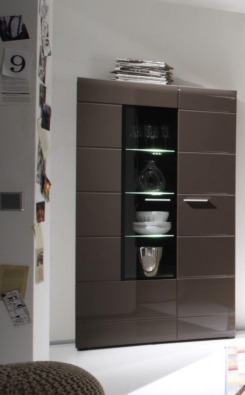 vitrine john trend beleuchtung wohnzimmer schrank m bel braun hochglanz kaufen bei. Black Bedroom Furniture Sets. Home Design Ideas