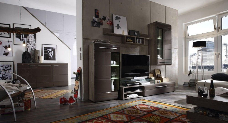 wohnwand beta trend wohnzimmer schrankwand tv m bel anbauwand braun hochglanz kaufen bei. Black Bedroom Furniture Sets. Home Design Ideas
