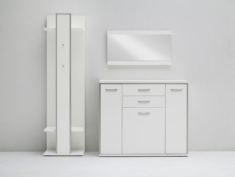 fillipe garderobenpaneel in wei hochglanz mit edelstahl kaufen bei. Black Bedroom Furniture Sets. Home Design Ideas