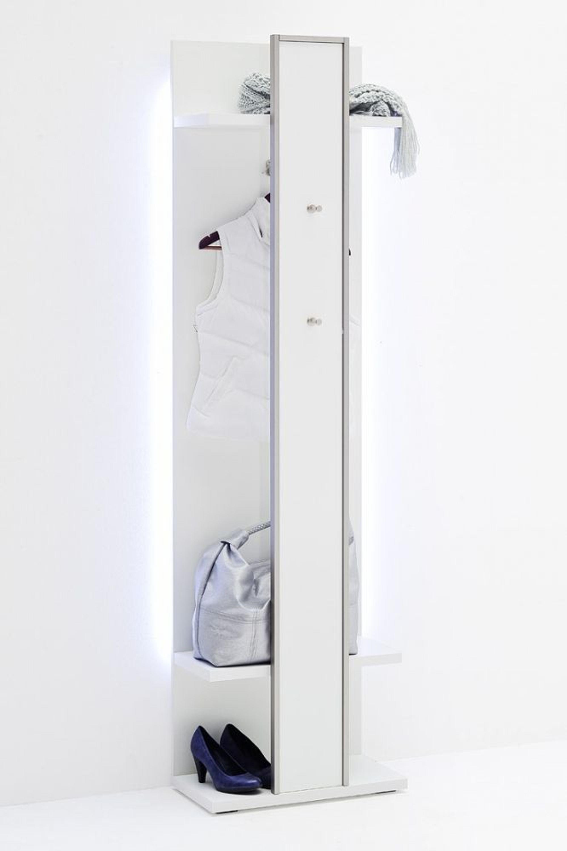 fillipe garderobenpaneel in wei hochglanz mit edelstahl