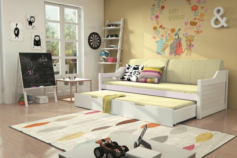 sofabett umny wei mit auszug inkl lattenrost und matratze kaufen bei. Black Bedroom Furniture Sets. Home Design Ideas