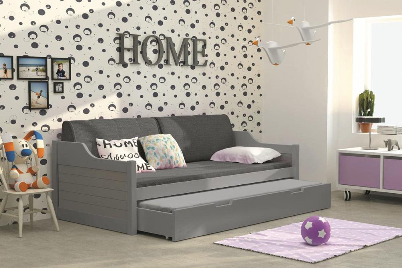 sofabett umny grau mit auszug inkl lattenrost und matratze kaufen bei. Black Bedroom Furniture Sets. Home Design Ideas