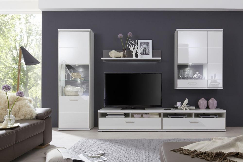 wohnkombination fillipe 5 teilig in wei hochglanz kaufen. Black Bedroom Furniture Sets. Home Design Ideas