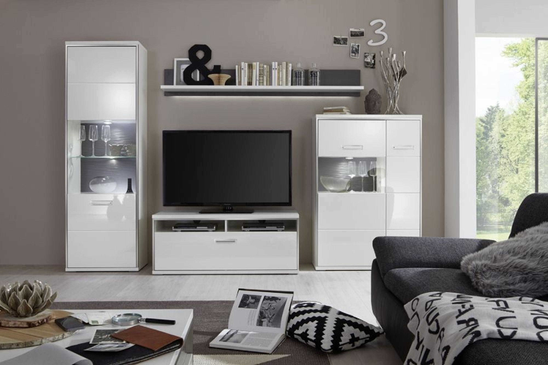 wohnwand fillipe 4 teilig in wei vitrine links oder. Black Bedroom Furniture Sets. Home Design Ideas