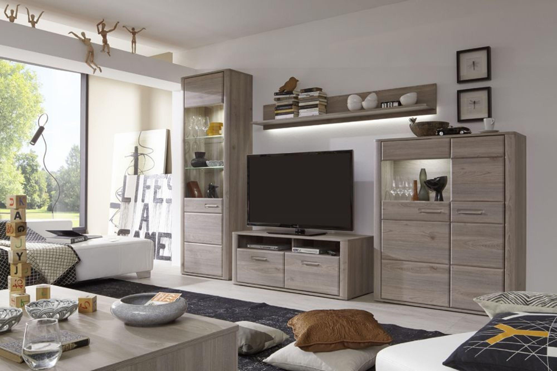 Wohnwand caja 4 teilig in eiche nelson kaufen bei for Wohnzimmer kompletteinrichtung