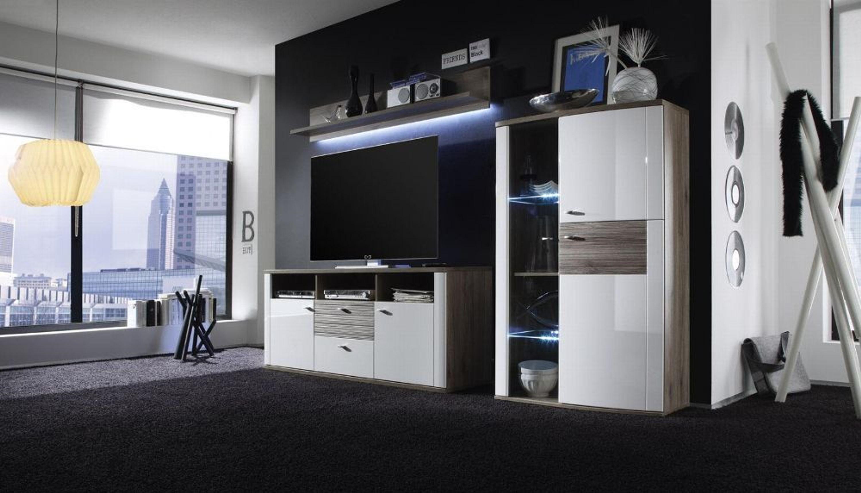 wohnkombination malee 3 teilig hochglanz wei kaufen bei. Black Bedroom Furniture Sets. Home Design Ideas