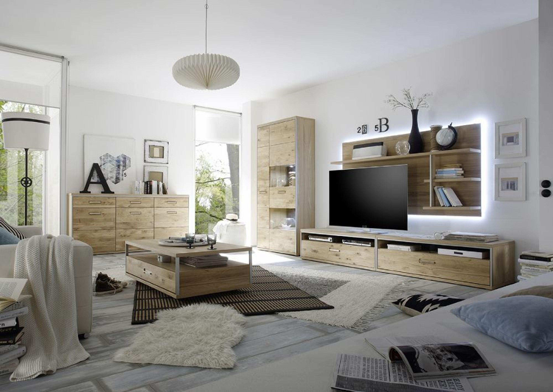 Wohnwand meja 4 teilig in ast eiche bianco kaufen bei for Wohnzimmer kompletteinrichtung
