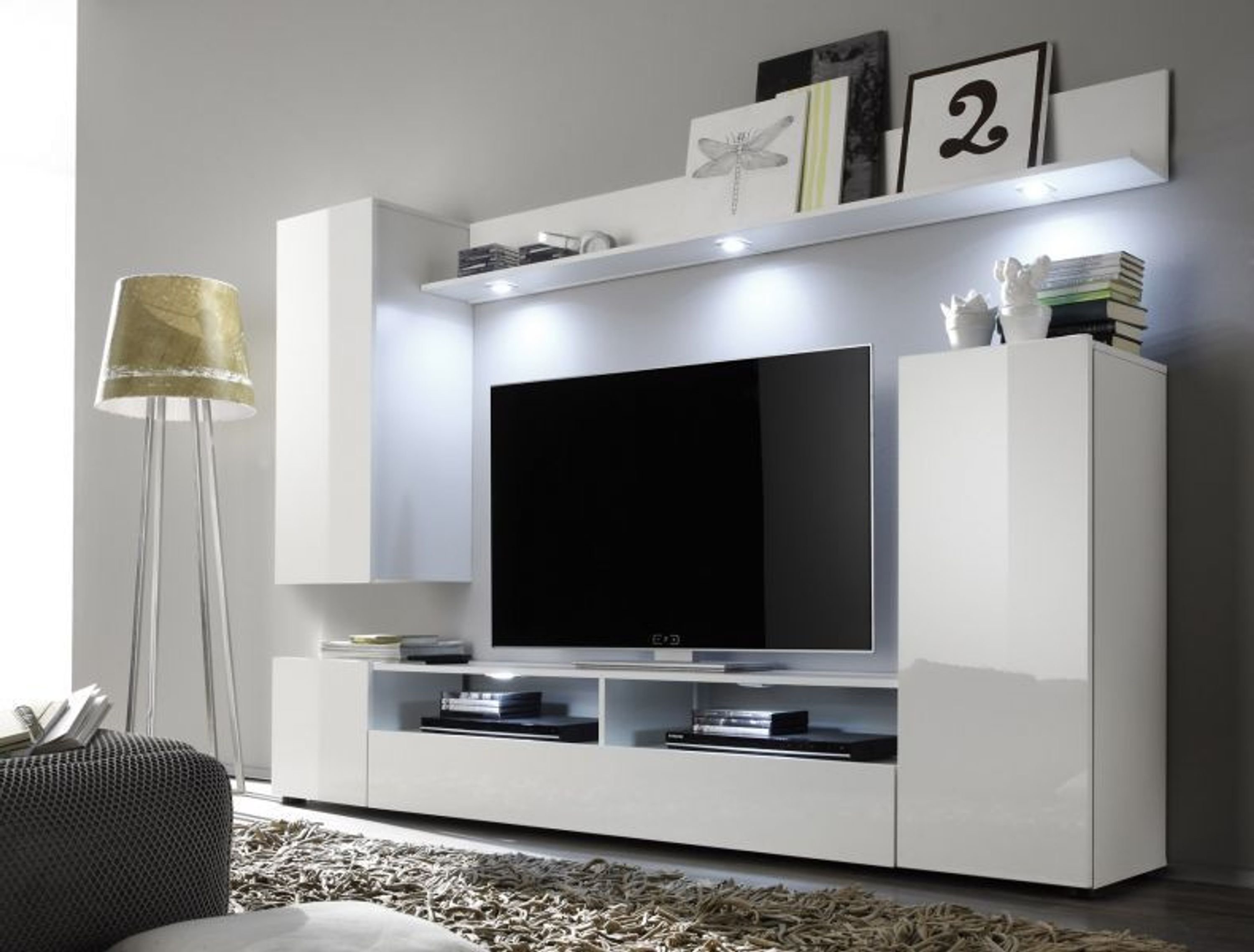 wohnwand wei hochglanz fernsehschrank wohnzimmer tv hifi m bel medienwand dos kaufen bei. Black Bedroom Furniture Sets. Home Design Ideas