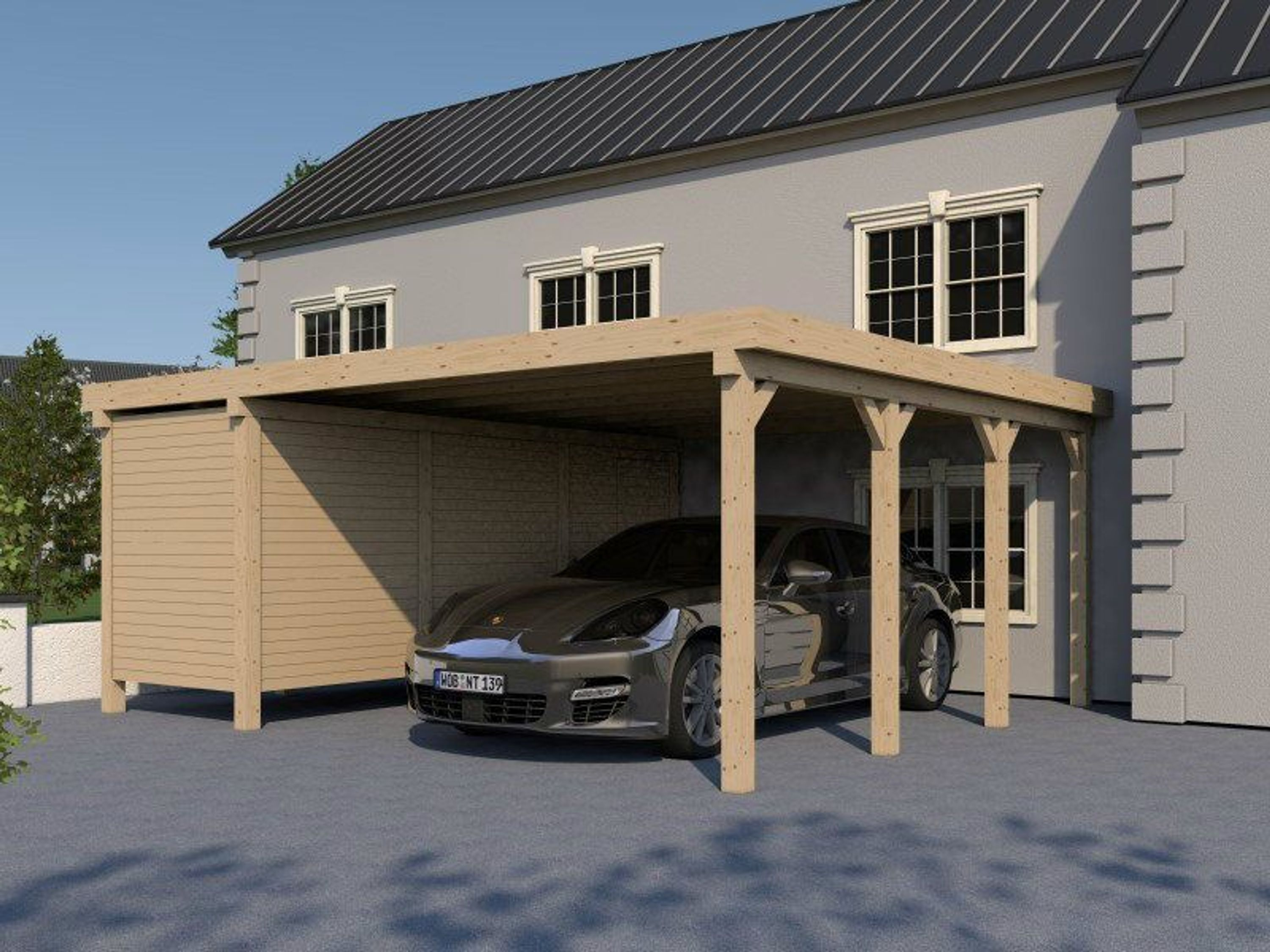carport flachdach silverstone xvii 600x600 cm mit. Black Bedroom Furniture Sets. Home Design Ideas