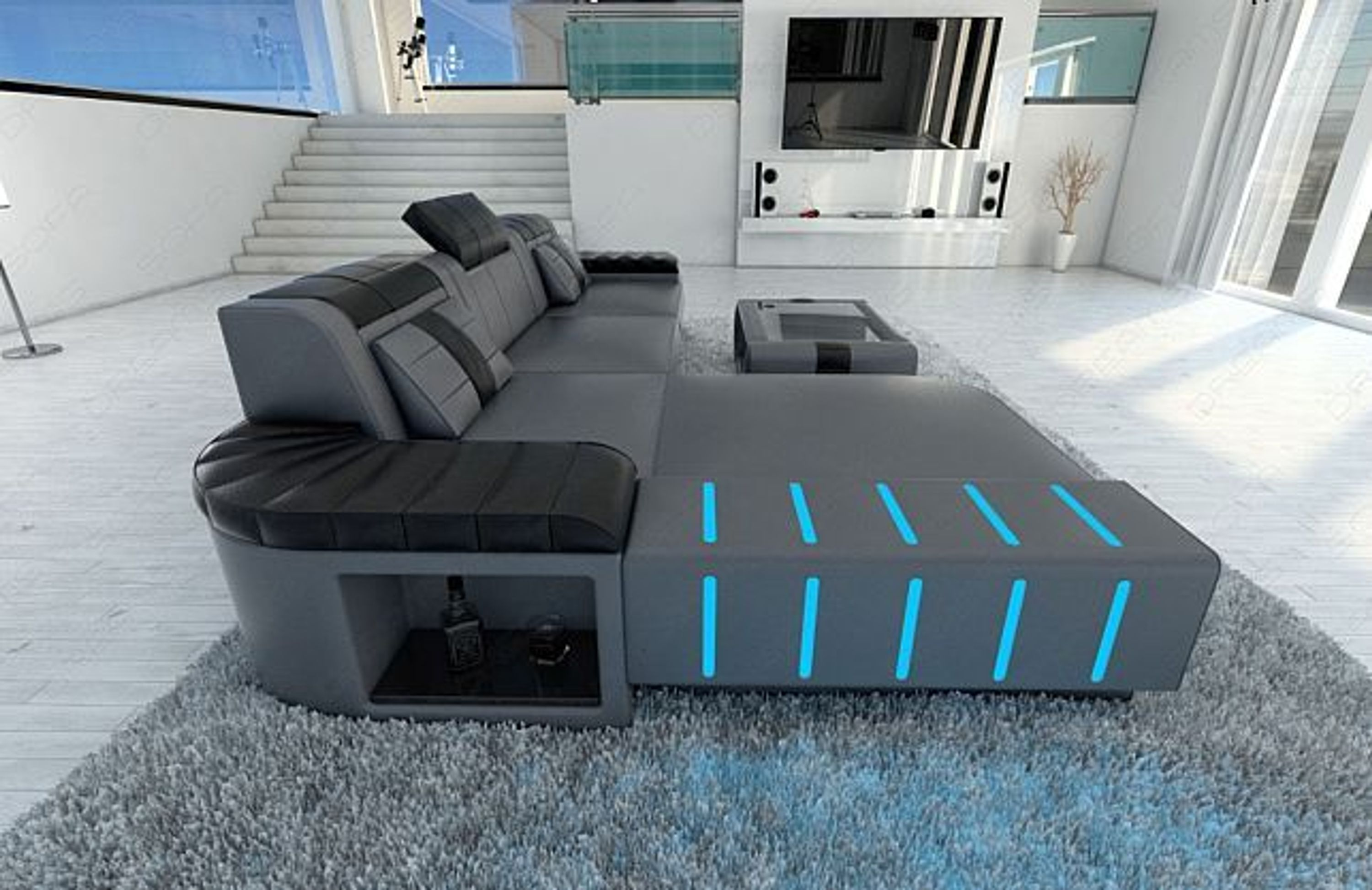 design ledersofa bellagio l form ecksofa echtleder mit led beleuchtung kaufen bei. Black Bedroom Furniture Sets. Home Design Ideas