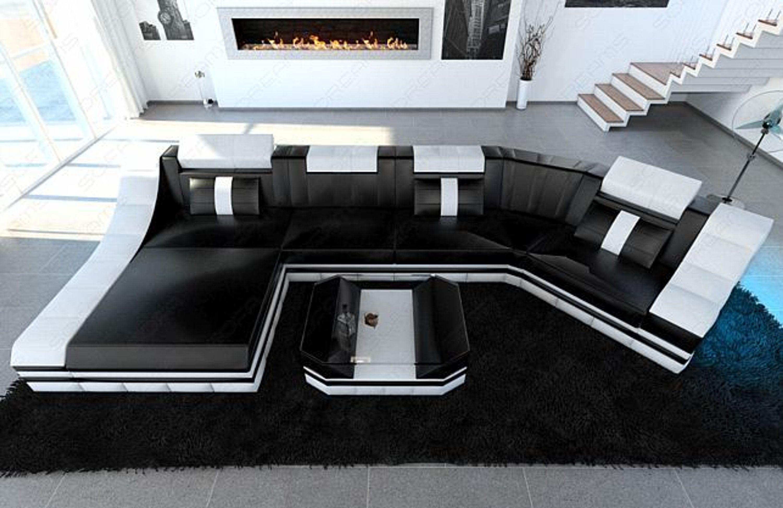 Leder Wohnlandschaft Turino C Form Led Beleuchtung Designer Couch