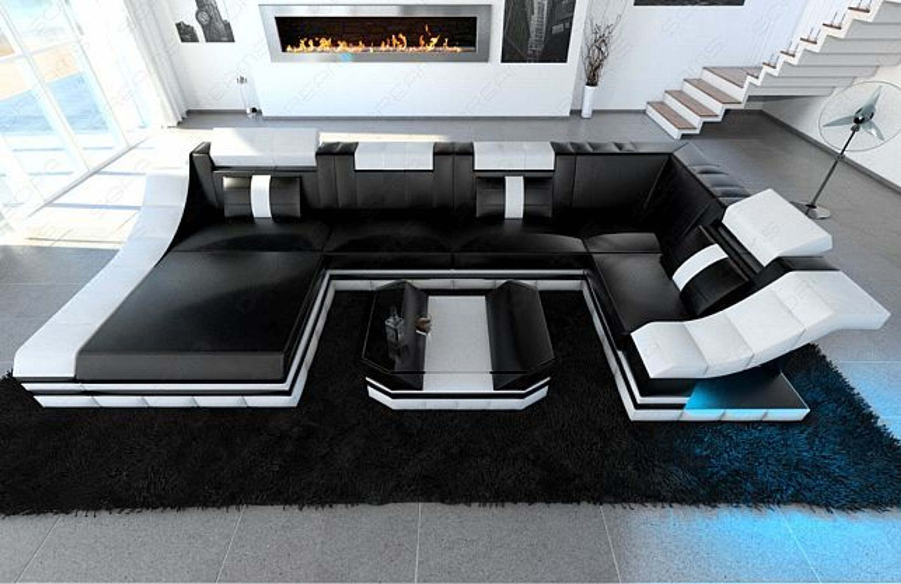 luxus wohnlandschaft turino u form mit led rgb beleuchtung design sofa ecksofa kaufen bei. Black Bedroom Furniture Sets. Home Design Ideas