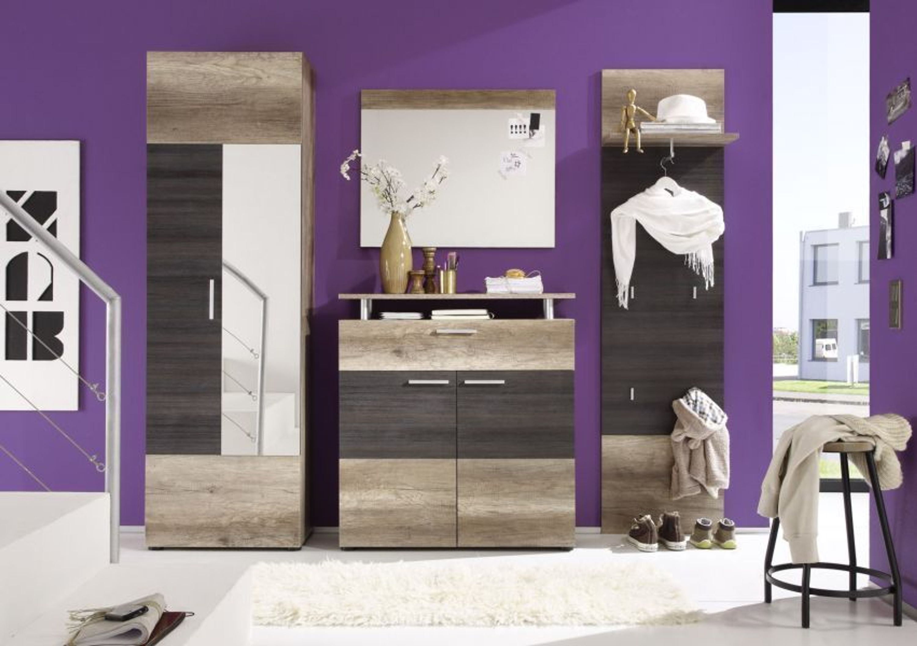 garderobe komplett garderobenset polo flurgarderobe 230 x 191 cm monument eiche kaufen bei. Black Bedroom Furniture Sets. Home Design Ideas