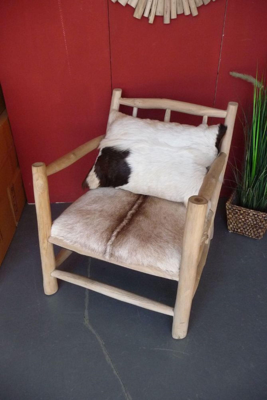 sessel stuhl aus teakholz mit echtem ziegen fell bezug landhaus western sessel kaufen bei. Black Bedroom Furniture Sets. Home Design Ideas