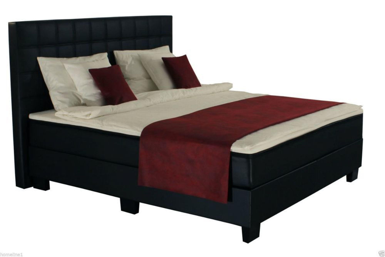 180x200 cm boxspringbett bett komfortbett hotelbett leder kunst schwarz 180x200 kaufen bei. Black Bedroom Furniture Sets. Home Design Ideas