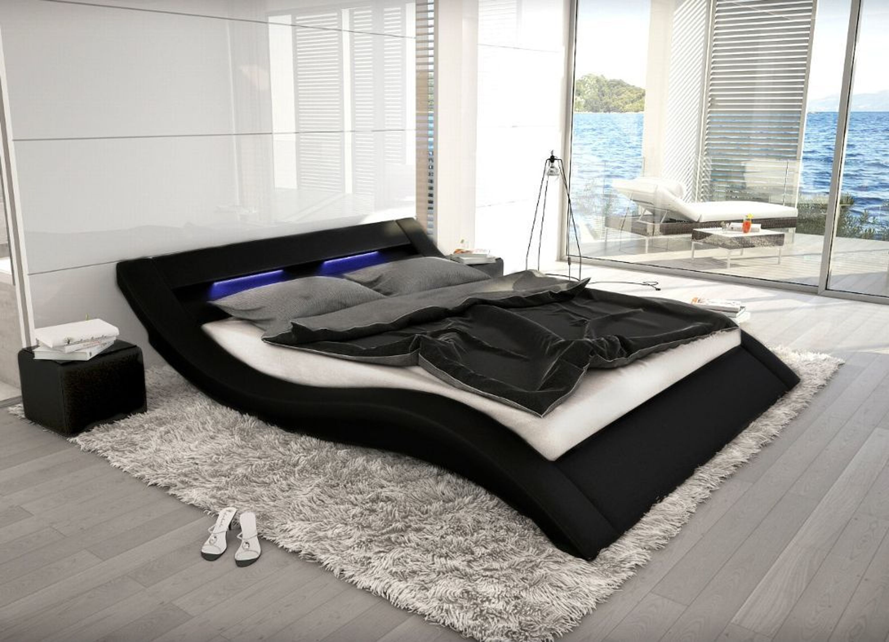 designer leder polsterbett lederbett wei oder schwarz modernes luxus bett gewellt kaufen bei. Black Bedroom Furniture Sets. Home Design Ideas