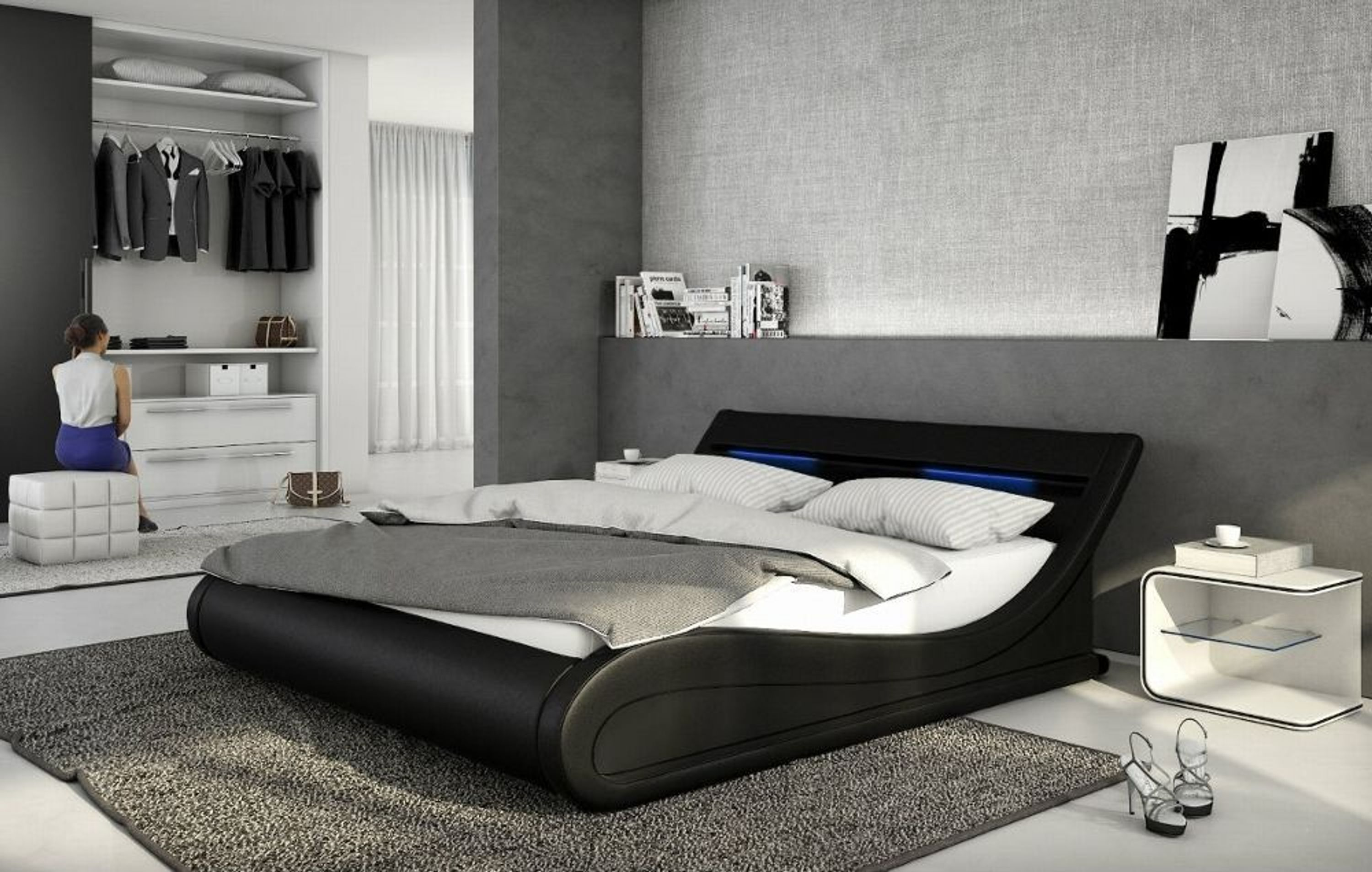 designer leder polsterbett 180 x 200 cm lederbett wei o schwarz gewelltes luxus bett kaufen bei. Black Bedroom Furniture Sets. Home Design Ideas