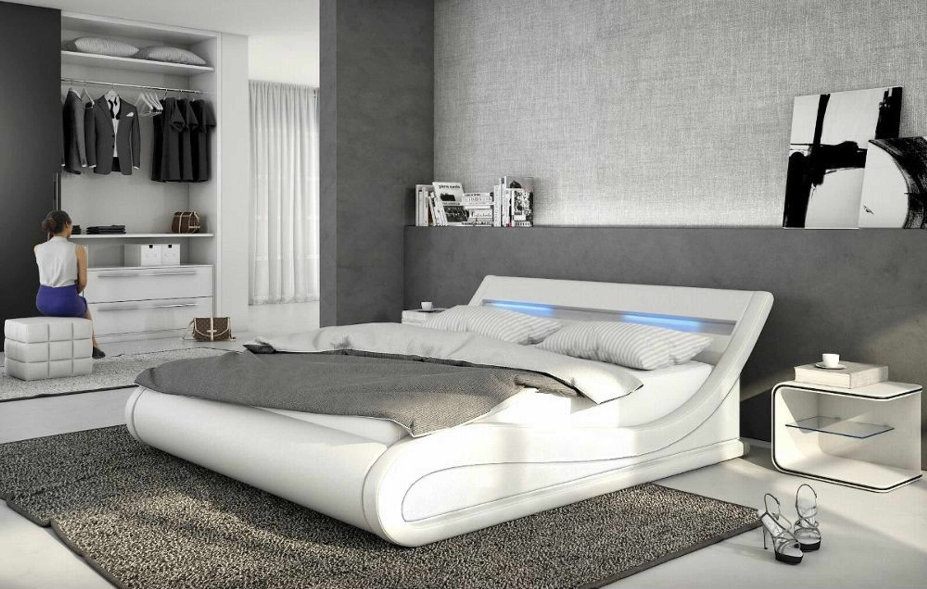 luxus leder polsterbett gewelltes leder bett wei o schwarz wellenf rmiges lederbett kaufen bei. Black Bedroom Furniture Sets. Home Design Ideas