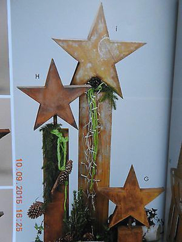 Edelrost Saule Stern Dekoration Weihnachten Terrasse Garten Advent